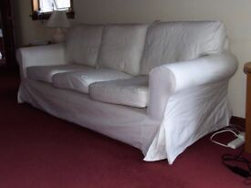 IKEA Ektorp 3 seater sofa TWO sets removable covers, White & Beige may help deliver locally