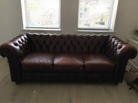 Vintage chesterfield 3 seater sofa, brown leather