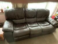 Pair of Electric Reclining Genuine Leather Sofas