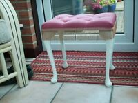 pink dralon bedroom stool excellent condition