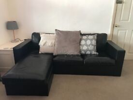 Free! Black faux leather corner sofa