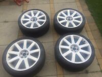 volkswagen alloys 5 wheels----- 225/40/18 with tyres/ golf bora passat may fit others