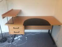 Desk, with removable shelf, removable leather writing surface, 2 drawers, great condition!