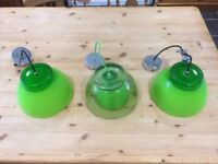Pendant lime green lights x3 ideal for kitchen