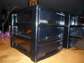 Black Plastic Filing/Craft Tray Towers - 3 Trays in each