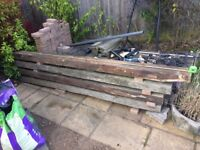 """RECLAIMED OAK BEAMS / """"SLEEPERS"""" 8ins by 4ins Various lengths and condition"""