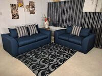 **EXPRESS DELIVERY** BRAND NEW LUXURY CHARLES MIDNIGHT 3 + 2 SOFA UNIT ON SPECIAL OFFER