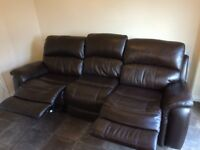 Lovely Pulaski Brown Leather 3 Seater Sofa Settee Couch Manual Recliner and Chair Suite - Return