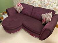 DFS purple 3 seater sofa and swivel chair