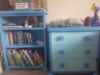 Boys blue bookcase and chest of drawers