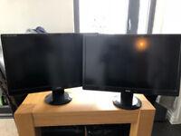 """2 x Iiyama Prolite X2472HD 24"""" 1080p Monitors (No cables)"""