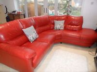 DFS RED LEATHER CORNER SOFA & SWIVEL ARMCHAIR FOR SALE - MUST GO ASAP - FREE DELIVERY - £375