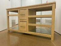 Wooden TV Stand Shelving Storage Unit Drawers with Glass shelves