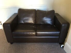 2x Brown Leather Sofas