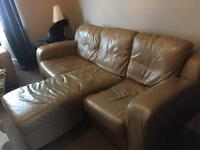 Leather 3-seater sofa & chair