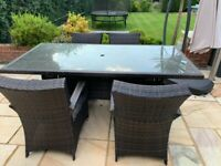 Rattan and glass Garden dining set, garden dining set, outdoor dining table and chairs