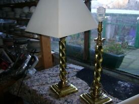 perfect set of two curly brass table lamps with shades
