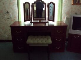 SHARPS DRESSING TABLE MIRROR AND STOOL