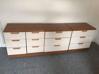 3 chest of drawers and a bedside cabinet