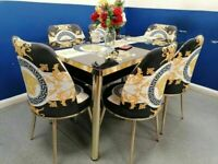 🔥🔥LOUIS VUITTON💥💯 HIGH QUALITY DINING TABLE SET WITH FABRIC CHAIRS, GRAB NOW!!
