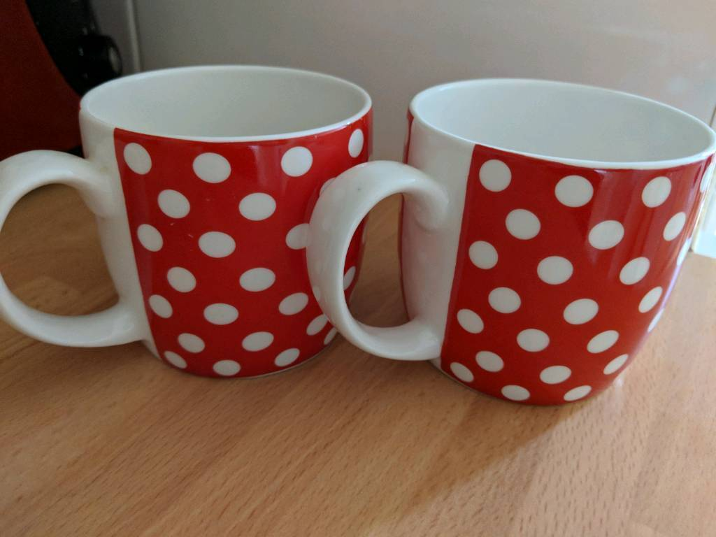 Set of 6 red and white polka dot mugs | in Plymouth, Devon | Gumtree