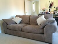Immaculate two 3 seater sofas and poof