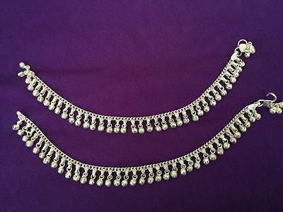 ethnic women Silver bells set anklet ankle bracelet Barefoot India foot jewelry