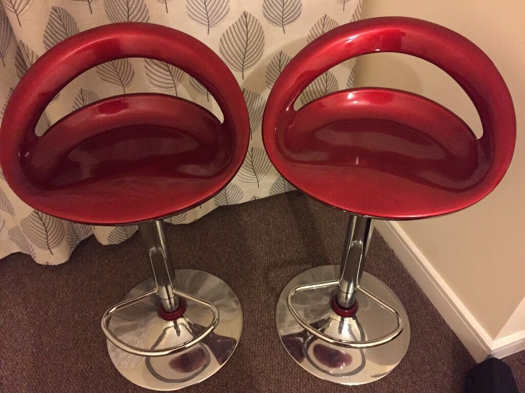 Two Sets Of Home Ottawa Red Gas Lift Bar Stool