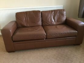 Two Next brown leather sofas for sale