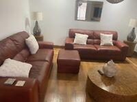 Italian leather sofas & footstools