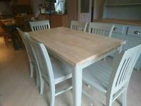Solid beech dining table and six chairs