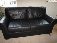 Black real leather sofa bed