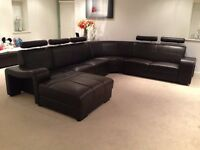 Italian leather 6/7 seat corner sofa