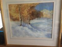 Original Oil painting of winter scene: unsigned
