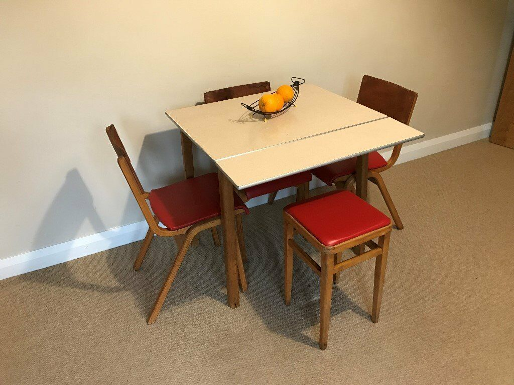 Vintage 1950 60 39 s formica top ext kitchen table with 3 matching chairs 1 stool in preston - Formica top kitchen tables ...