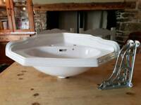 Heritage Quality Corner Cloakroom Basin with Ornate Brackets