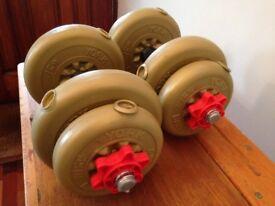 York Vinyl adjustable Dumb Bells,