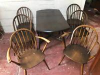 Ercol drop leaf Table and 6 chairs