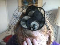 FASCINATOR NAVY BLUE LACE. WEDDING, HAT, HEAD, ACCESSORY