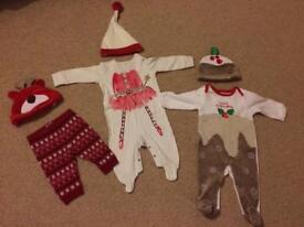 Xmas bundle 3-6 month baby girl outfits, Xmas pudding etc