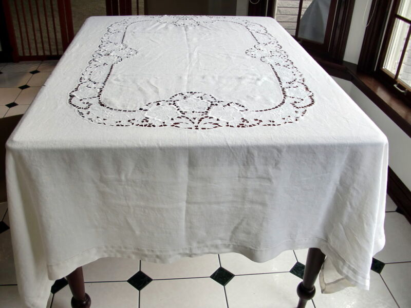 "62"" X 82"" VINTAGE WHITE LINEN CUT WORK CUTWORK TABLECLOTH HEMSTITCHED"
