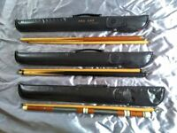 3 x Snooker / Pool Cues with soft cases