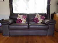 Brown Leather 3 Seater & Matching 2 Seater Sofa