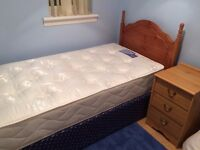 Single bed, mattress & bedside cabinet