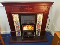Mahogany Victorian Style Tiled Fireplace and Electric Fire