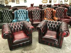 Stunning pair of oxblood leather chesterfield club chairs UK delivery