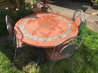 Ceramique garden round table and 4 chairs ceramic top and sits!!! New over £800