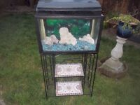 AQUARIUM / FISH TANK PLUS A STAND + LIGHTS + GRAVEL + ORNAMENTS 2ft x 4ft high