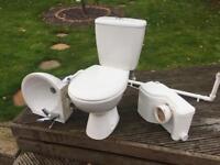 Macerator pump, toilet and sink