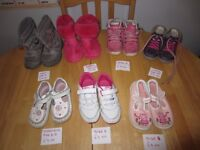 Various Girls shoes/boots/slippers sizes between 6 to 8, startrite, clarkes, firetrap, next, bluezoo